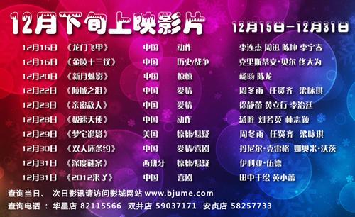 2011年12月下旬网站排片