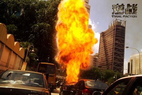 吉隆坡闹市拍摄爆炸戏份(点击查看高清大图)