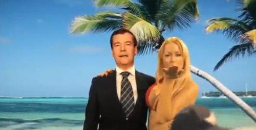 梅德韦杰夫对金发美女揩油广告网上大热视频截图