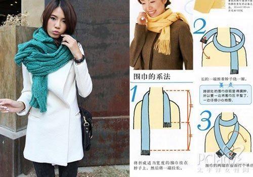 长围巾的系法图解五   将折好的围巾挂在脖子上,然后将一端拉长