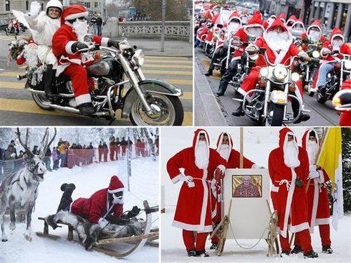 瑞士的圣诞老人是穿白色的长袍,戴上假面具的。他们都是由贫苦人所扮,结队向人讨取食品和礼物。在收队后,他们就平分所得的东西。