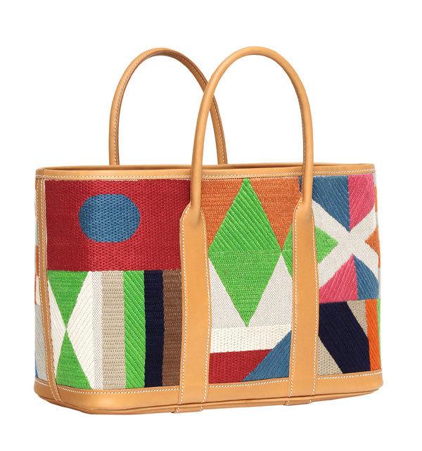 刺绣帆布与天然母牛皮搭配的GARDEN PARTY CRAFT包