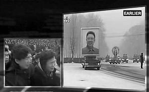 这张12月28日的电视截图显示,朝鲜各界群众在平壤参加朝鲜最高领导人金正日遗体告别仪式 新华社发