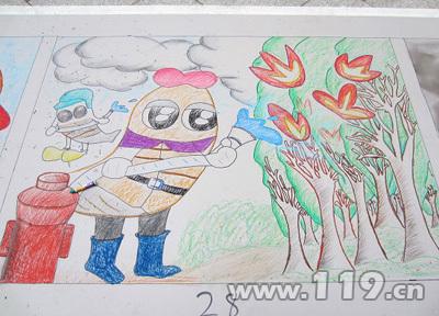 幼儿森林防火绘画作品