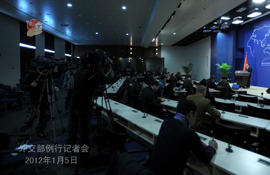 2012年1月5日,外交部发言人洪磊主持例行记者会。