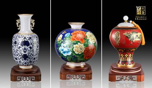 中国景泰蓝镶玉艺术奇葩之制尊大师景泰蓝工艺品