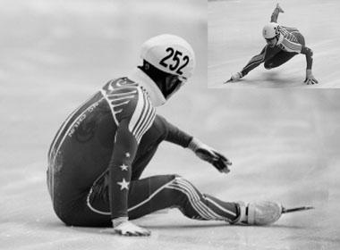 梁文豪的意外滑倒让于继洋(右上)一战成名 本组图片 本报十二冬会摄影报道组 摄