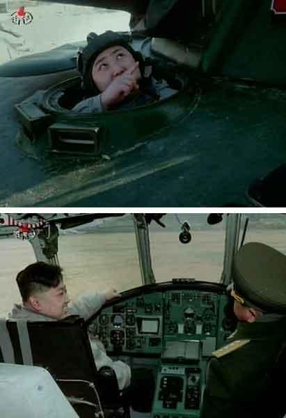 朝鲜中央电视台1月8日播出纪录片,显示金正恩乘坦克进行射击训练(上图),搭乘军用直升机(下图)。照片=朝鲜中央电视台画面截图/韩联社
