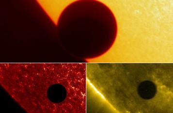 2004年美国宇航局TRACE航天器拍摄的三张金星凌日照片,顶部照片是在可见光下拍摄的,底部左侧照片是在紫外线下拍摄的,底部右侧照片是在超紫外线下拍摄的