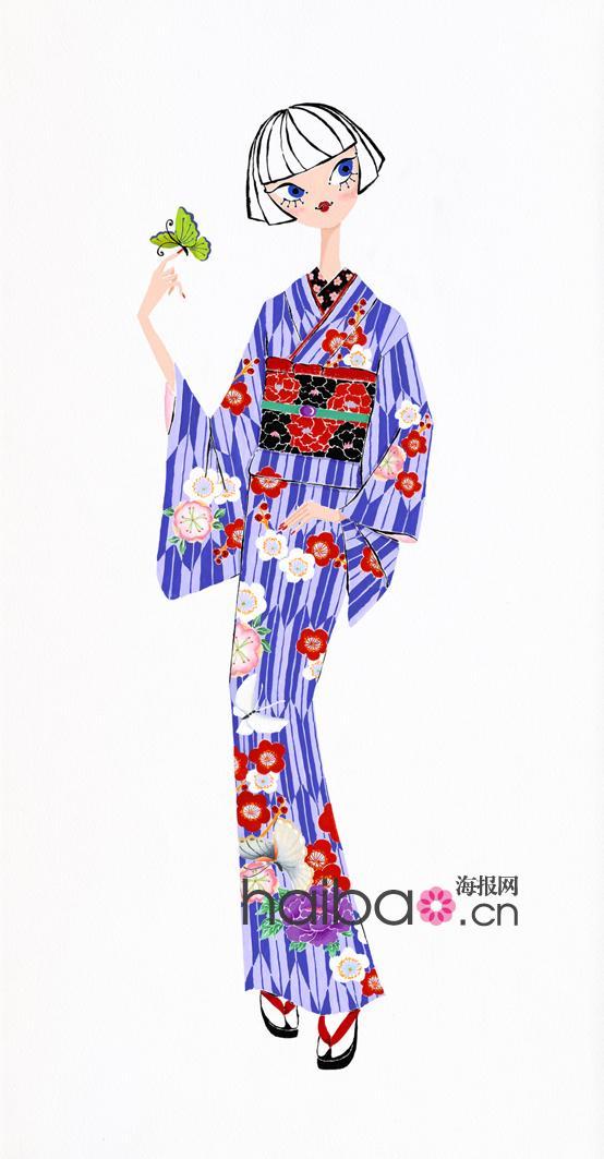 手绘日本和服女人