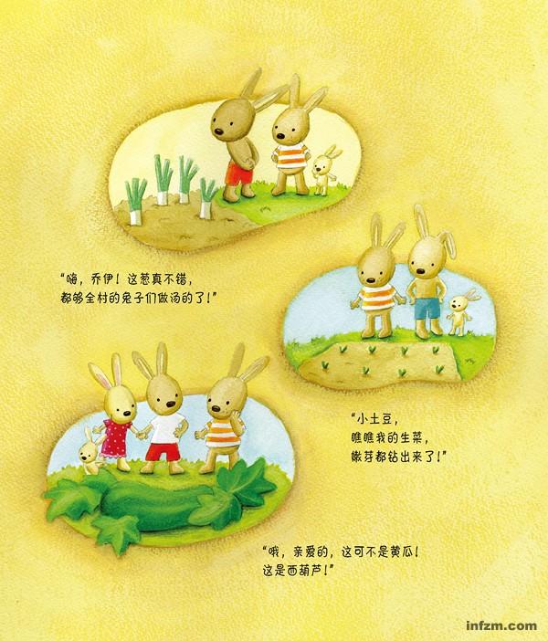 一个幸福村,两个好朋友,N个小兔子;兔年走进幸福村,和孩子一起体验幸福的感觉   【啊哈,好大的胡萝卜】   从前有座幸福村,村里住着一群小兔子   春天到了,正是种胡萝卜的好时节!   幸福是什么?就是千方百计培育出超大胡萝卜!   但是,光吃胡萝卜营养可不一定够哦      春天到了,小土豆和小白菜决定要种些胡萝卜。   他们想,要是能种出很大、很大的胡萝卜   就好了,   可以参加一年一度的蔬菜节是一件很幸福的事呢!