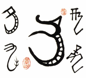 """""""甲骨文的龙字,已是一有角,大口,纹身,曲体的动物形象."""