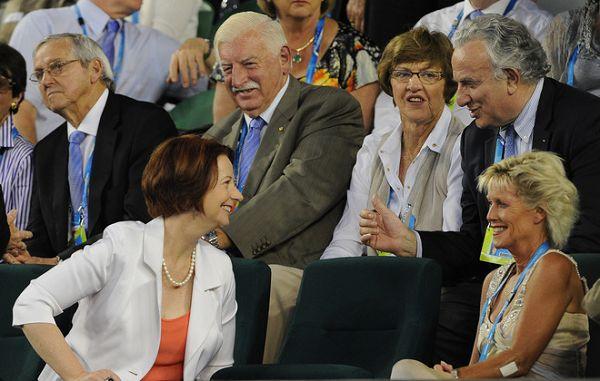 图文:[澳网]小德VS穆雷 总理与前澳网冠军交流