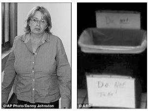 """加油站女老板称,她早就标明""""不许在垃圾桶内拿(彩票)""""。"""