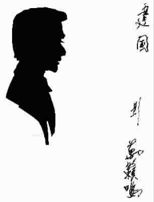 黑白人物手绘侧影