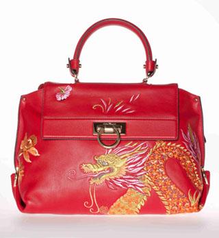 红色龙刺绣手提包秀丽复古