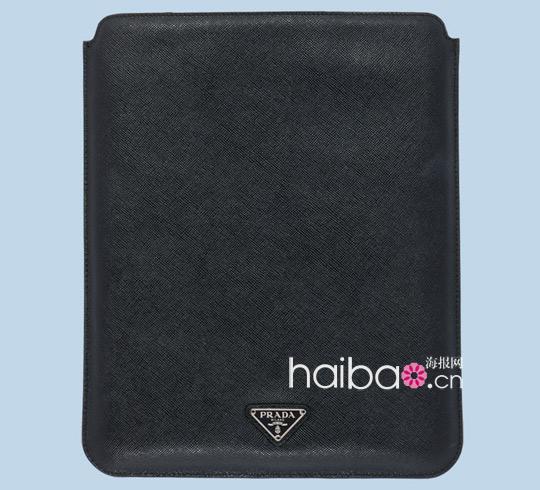 普拉达 (Prada) 骷髅头标志全黑山羊皮iPad保护套