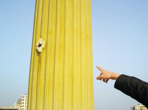 柱子上的灯座还在,灯不见了.-沙井市民广场近200照明灯被盗