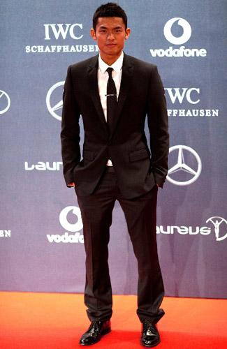2月6日,中国羽毛球选手林丹出席劳伦斯世界体育奖颁奖典礼。