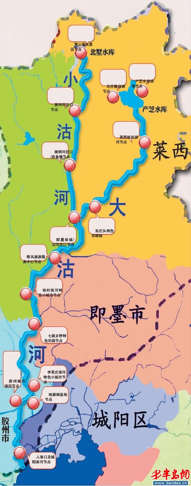 即墨,胶州,平度,莱西五区市负责筹措各自区域内河道治理的征地,拆迁