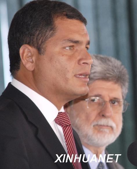 厄瓜多尔总统拉斐尔 科雷亚左资料图