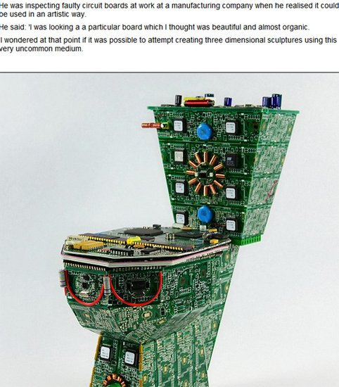 美艺术家用废弃电脑元件打造的马桶