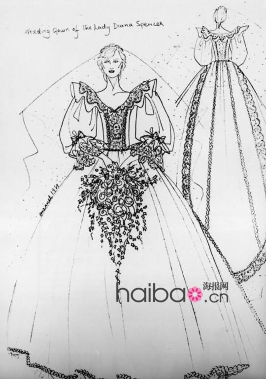 手绘画婚纱长裙画法