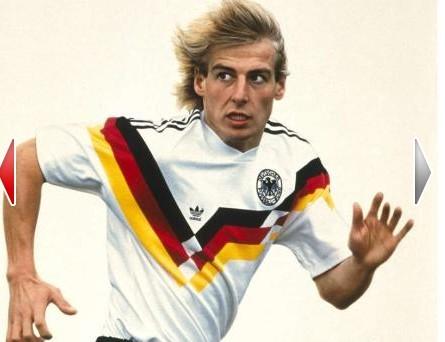 除了传统的白色队服外,德国队第二比赛服回归曾经使用过得绿色队服.图片