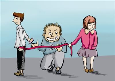 日本手绘小清新插画情侣分手