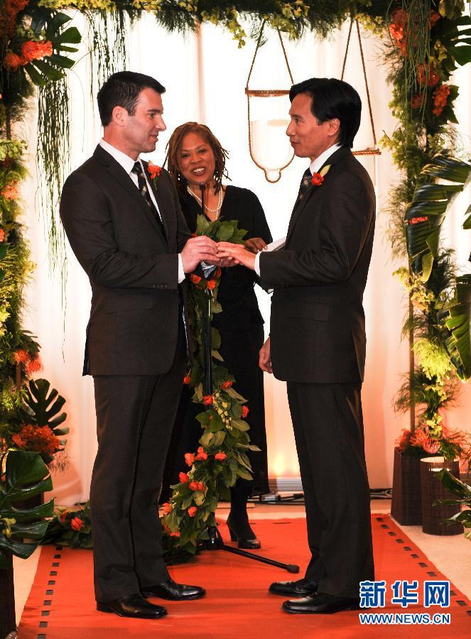 金正恩/2月14日,在美国纽约的帝国大厦举行的婚礼仪式上,肖恩·克莱恩...
