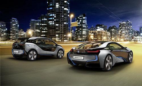 车行业最新资讯_图片为2011款宝马i3,i8新能源概念车