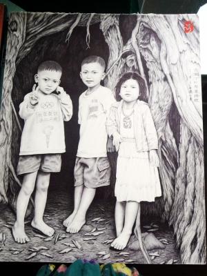 陆腾仁的圆珠笔画作有人物画,山水画,动物画,创意画,其中尤以动物