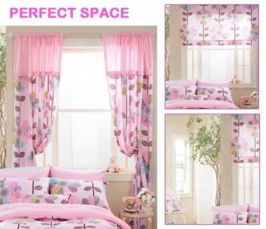 韩式田园风格的粉红圆点窗帘搭配同样款式的懒人沙发和床铺更是