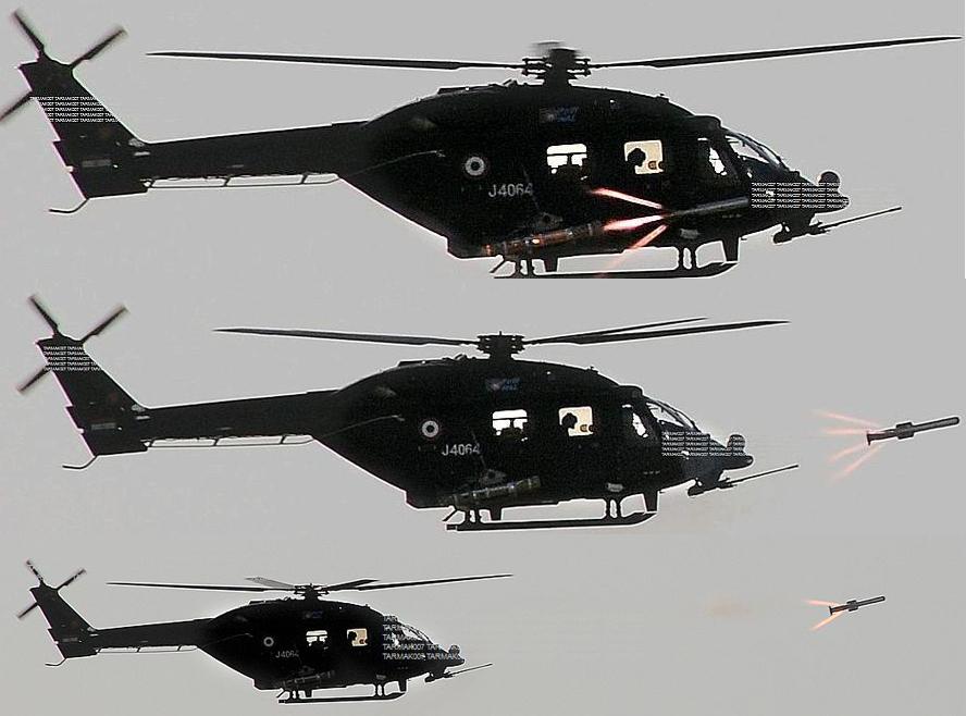 自制 印度 武装直升机 反坦克导弹/印度国产武装直升机悬停发射自制毒蛇反坦克导弹