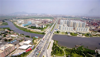 晋江市区鸟瞰图