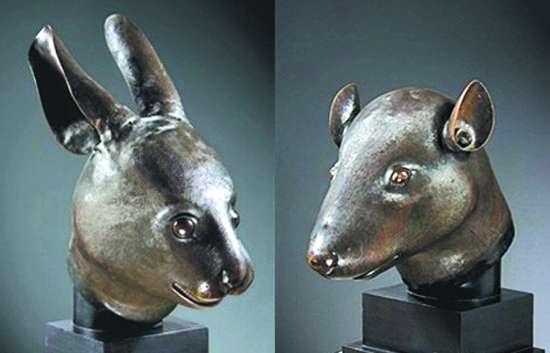 圆明园鼠首和兔首铜像-拍卖界集体声讨 拍而不买