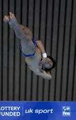 图文:跳水世界杯邱波10米台夺冠 邱波在比赛中