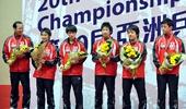 图文:乒乓球亚锦赛男团决赛 日本男团获得亚军