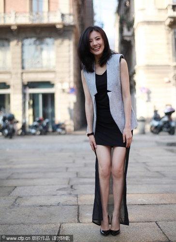 高圆圆米兰时尚街拍 甜美笑容绽放东方美(组图)