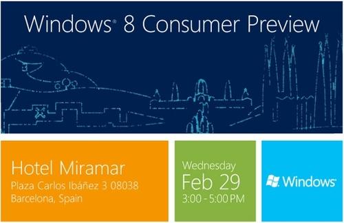 Windows 8消费者预览版于2月29日发布