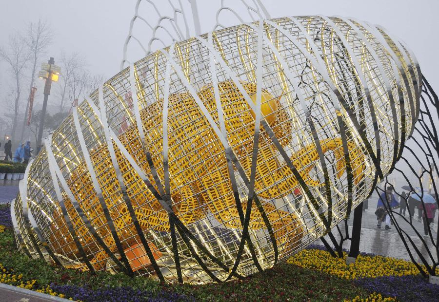西安/这是西安楼观道教文化区雕塑《蝉蜕》(3月1日摄)。
