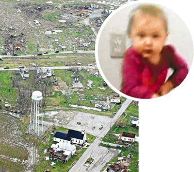 安吉尔/发现女婴安吉尔的地点。当地房屋遭龙卷风袭击已被夷为平地。