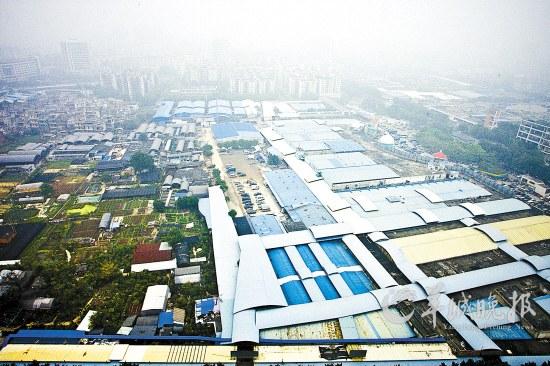 广州/在花地湾地铁站C、D出口处以西,花鸟鱼虫市场和简易棚、农田、...