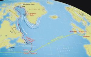 冰山漂流示意图(红箭头为冰山可能的漂流方向)。