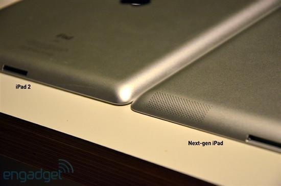 从这个角度可以大概看出两者边缘锥度的不同了,iPad3稍大一些。