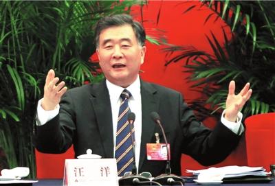广东团开放日,汪洋书记回答记者提问。本报记者王海欣摄