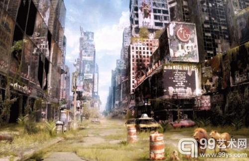"""俄罗斯艺术家弗拉基米尔-曼尤希恩""""末日后的生活""""系列中的一幅作品,所呈现的末日景象让人不免联想到2007年灾难片《我是传奇》"""