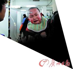 儿童医院正在输液的小孩。 记者苏俊杰、黄澄锋 摄