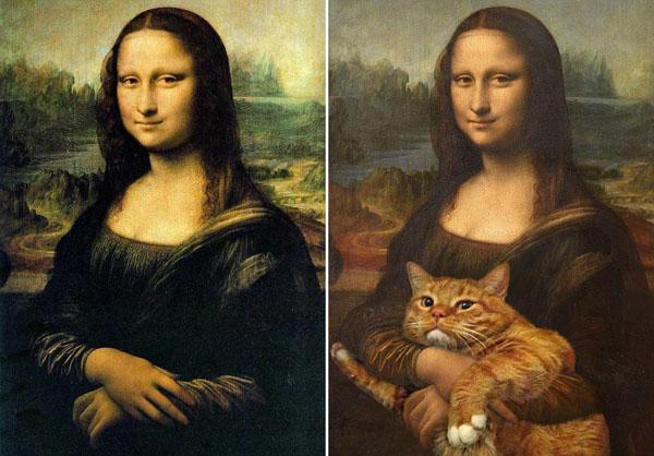 petrova将这只肥胖的宠物猫放在一些名画中,例如波提切利,达利,达芬奇