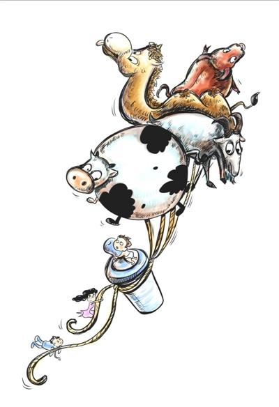 牛奶由来卡通手绘